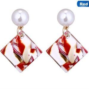 Red Mosaic Square Acrylic Pearl Dangle Earrings